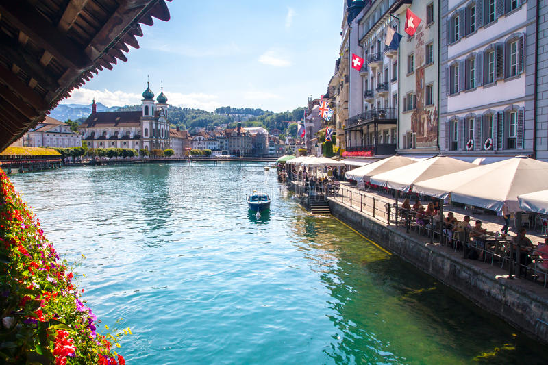 Chape Bridge in Lucerne face the lake royalty free stock photo