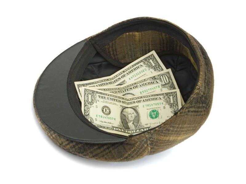 Chapeau avec de l'argent image stock