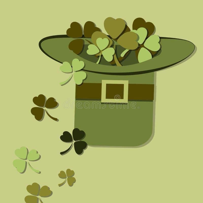 Chapeau avec un trèfle le jour de St Patrick s illustration libre de droits