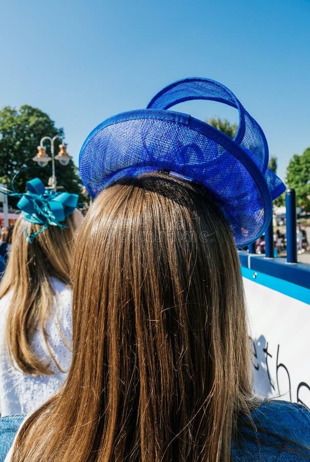 Chapeau bleu à prince royal Harry et Meghan Markl de mariage de mariage photos libres de droits