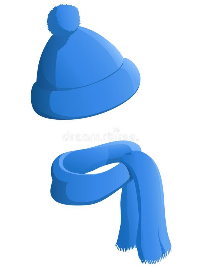 Chapeau bleu d'hiver avec l'écharpe d'isolement sur le fond blanc illustration libre de droits