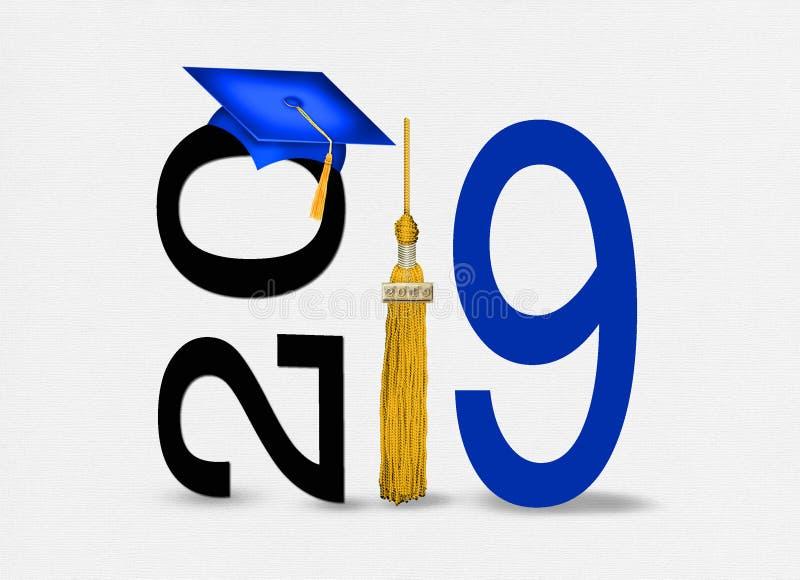 Chapeau 2019 bleu d'obtention du diplôme avec le gland d'or illustration de vecteur
