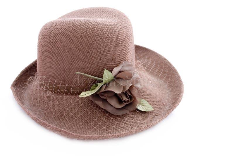 Chapeau brun de cru images stock