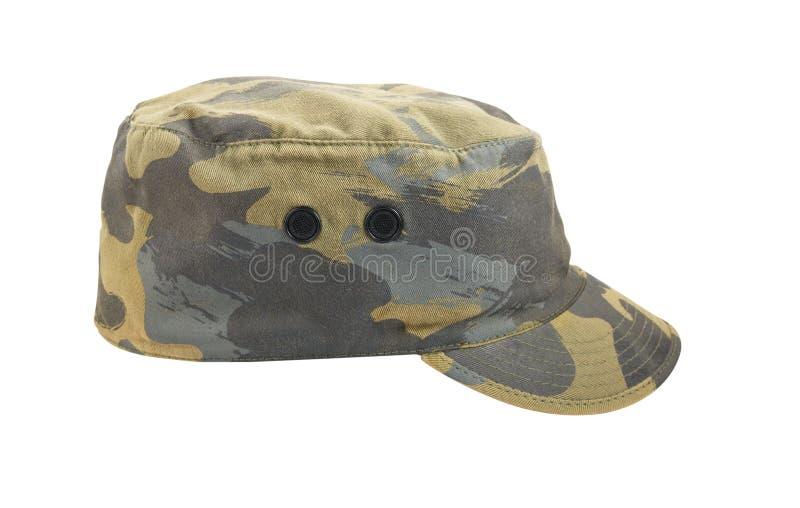 Chapeau camouflé par armée d'isolement sur le fond blanc photo stock
