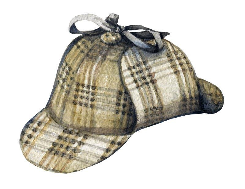 Chapeau d'aquarelle de Sherlock Holmes illustration de vecteur