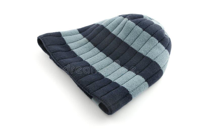 chapeau d'hiver d'isolement sur le blanc images stock