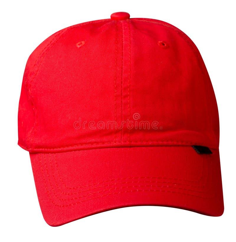 Chapeau d'isolement sur le fond blanc Chapeau avec un pare-soleil Chapeau rouge photos stock