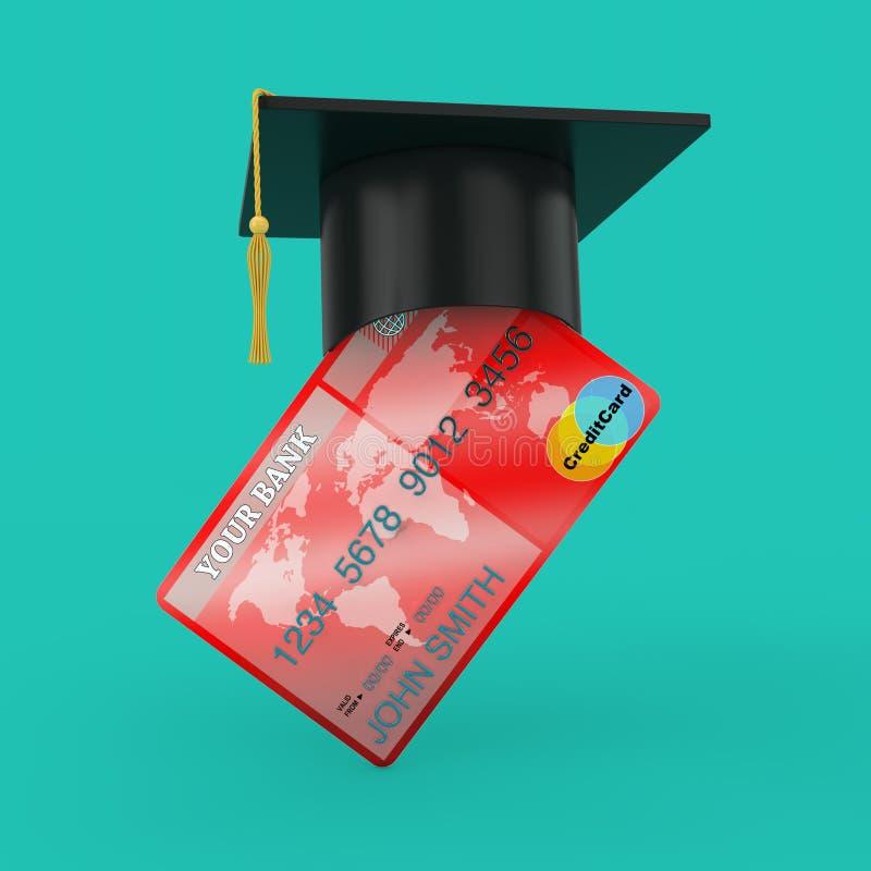 Chapeau d'obtention du diplôme au-dessus de carte de crédit rendu 3d illustration libre de droits