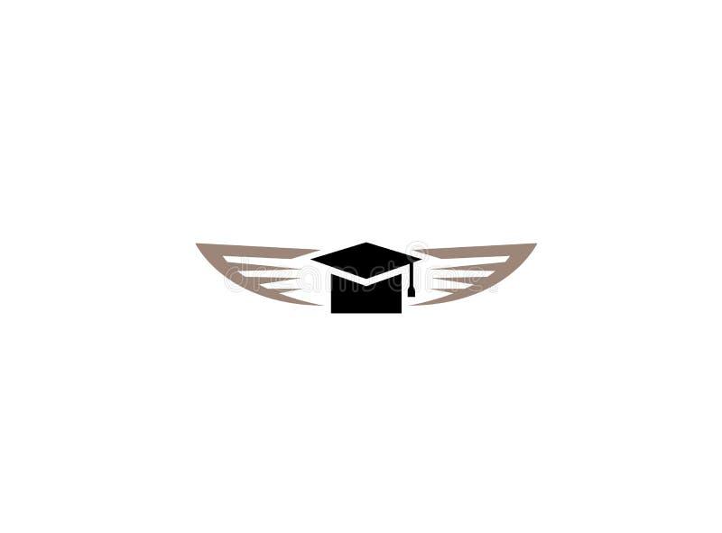 Chapeau d'obtention du diplôme avec les ailes ouvertes plates pour l'illustration de conception de logo illustration libre de droits