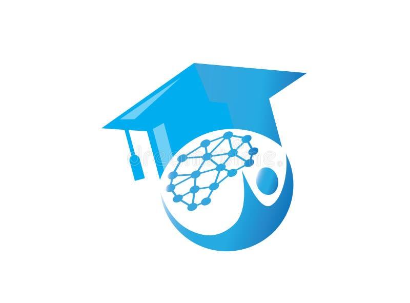 Chapeau d'obtention du diplôme dans le logo de succès de cerveau de technologie illustration de vecteur