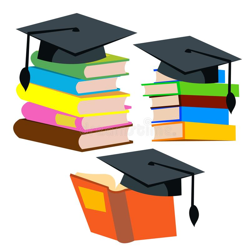 Chapeau d'obtention du diplôme sur une pile de vecteur de livres Illustration d'isolement illustration stock
