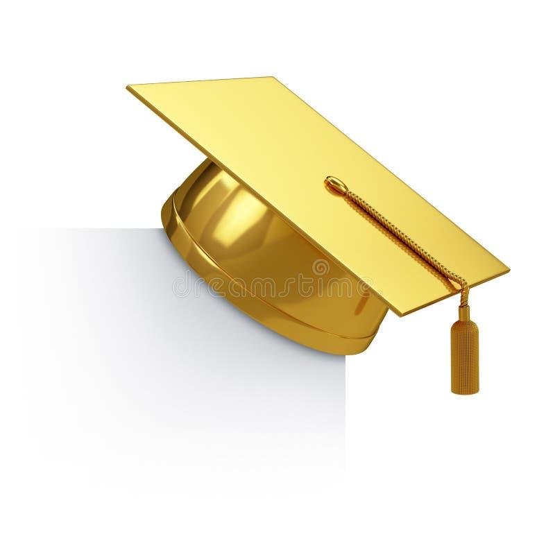 Chapeau d'obtention du diplôme d'or illustration de vecteur