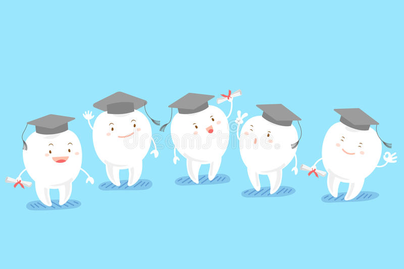 Chapeau d'obtention du diplôme de prise de dent illustration de vecteur