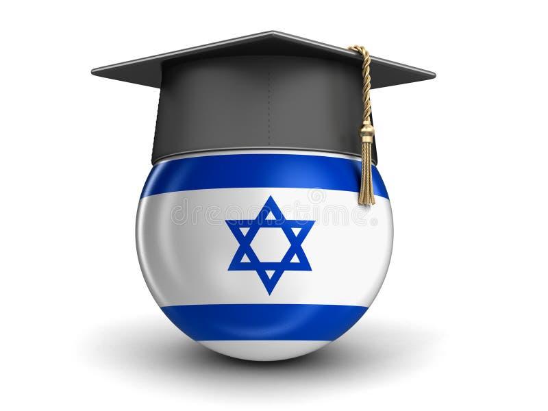 Chapeau d'obtention du diplôme et drapeau israélien illustration de vecteur