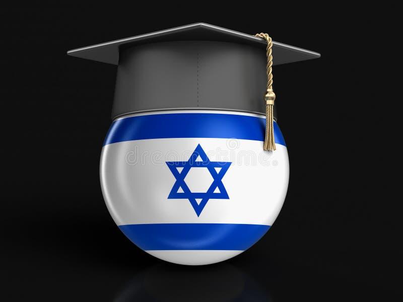 Chapeau d'obtention du diplôme et drapeau israélien illustration libre de droits