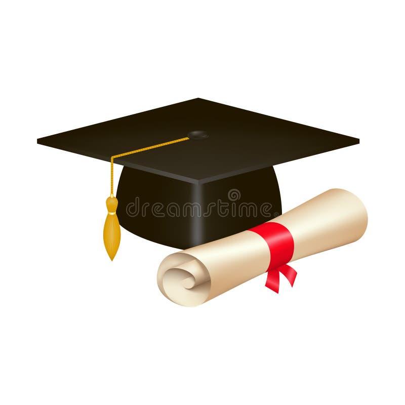 Chapeau d'obtention du diplôme et rouleau réalistes de diplôme image libre de droits