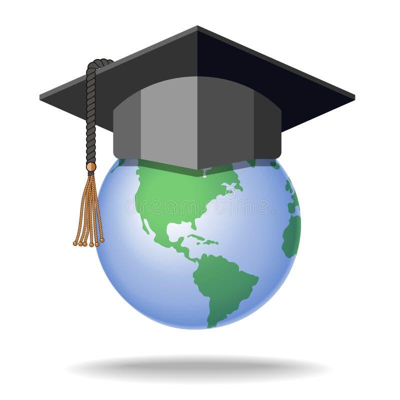 Chapeau d'obtention du diplôme sur le globe de la terre illustration de vecteur