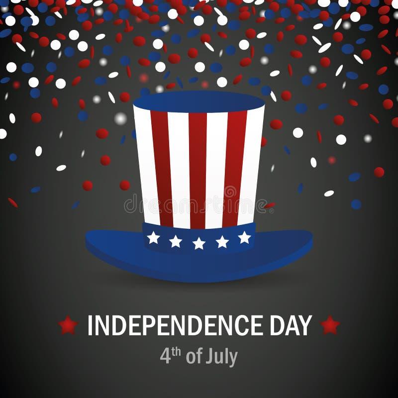 Chapeau dans le style de drapeau américain avec des confettis pour le Jour de la Déclaration d'Indépendance Etats-Unis illustration de vecteur