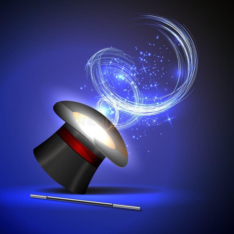 Chapeau de baguette magique et de magicien illustration libre de droits