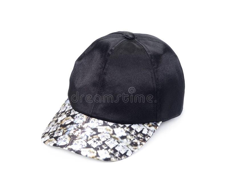 Chapeau de base-ball noir, chapeau du ` s d'hommes sur un fond blanc photos libres de droits