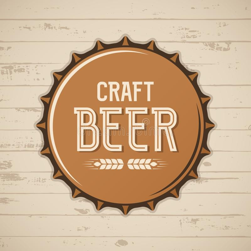 Chapeau de bouteille à bière de métier Logo de brasserie de vecteur, emblème, insigne illustration stock