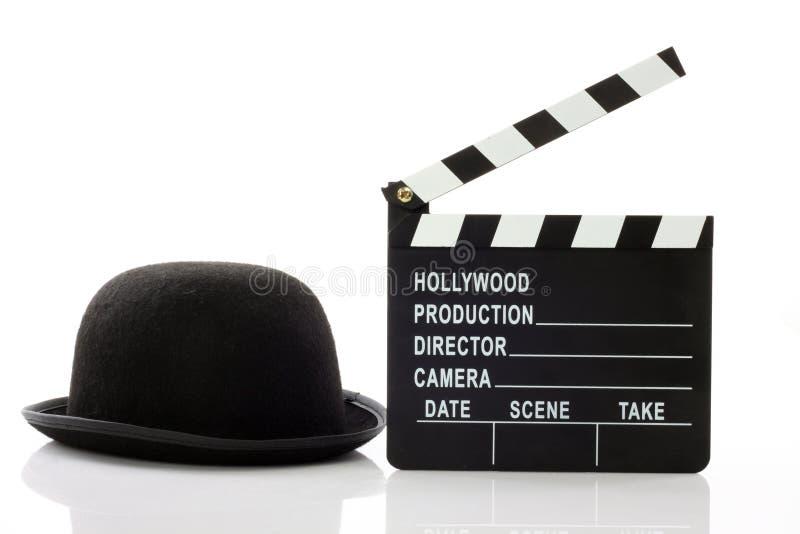 Chapeau de chapeau melon et clapet de film photo libre de droits