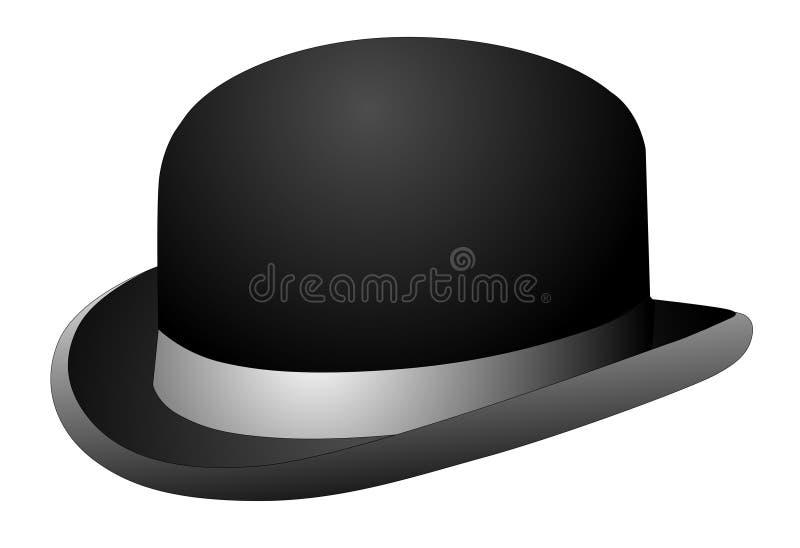 Chapeau de chapeau melon noir illustration de vecteur