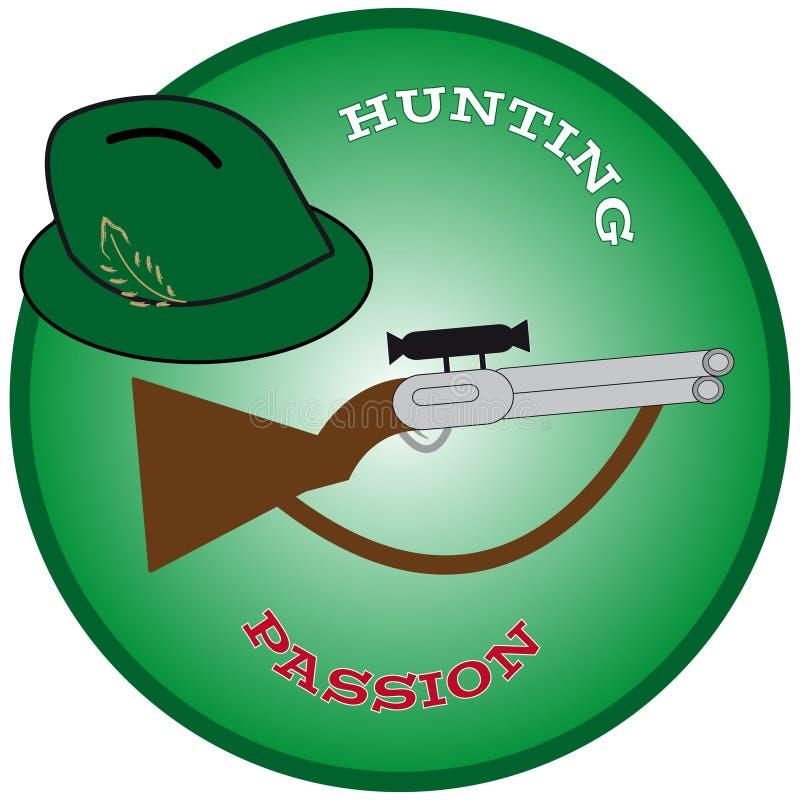 Chapeau de chasse avec l'arme à feu en anneau vert illustration libre de droits