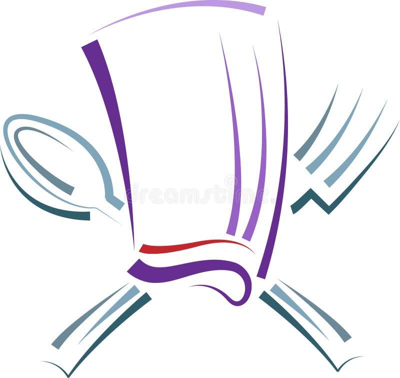 Chapeau de chef avec la cuillère et la fourchette illustration stock