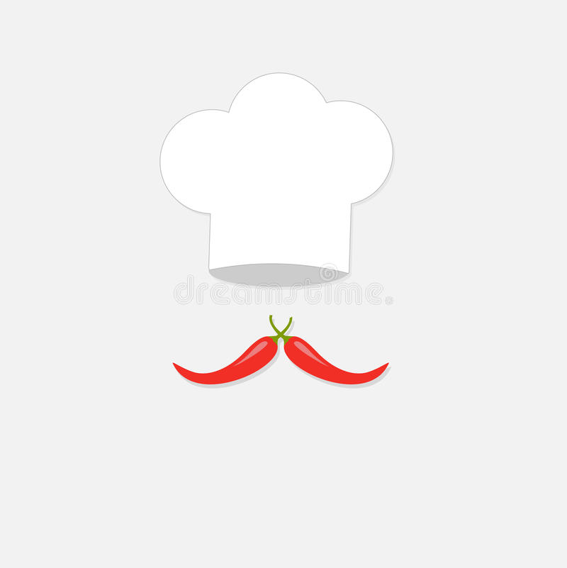 Chapeau de chef et grande moustache d'un rouge ardent de poivre Carte d'isolement de menu Style plat de conception illustration stock