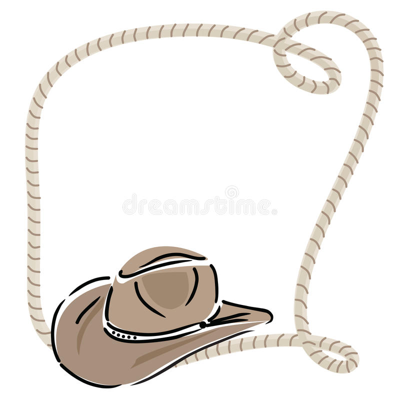 Chapeau de cowboy avec la corde illustration stock