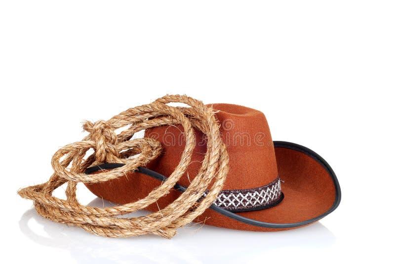 chapeau de cowboy avec un lasso image libre de droits