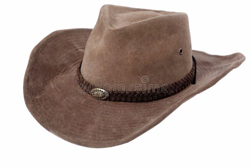 Chapeau de cowboy en cuir d'isolement photo stock