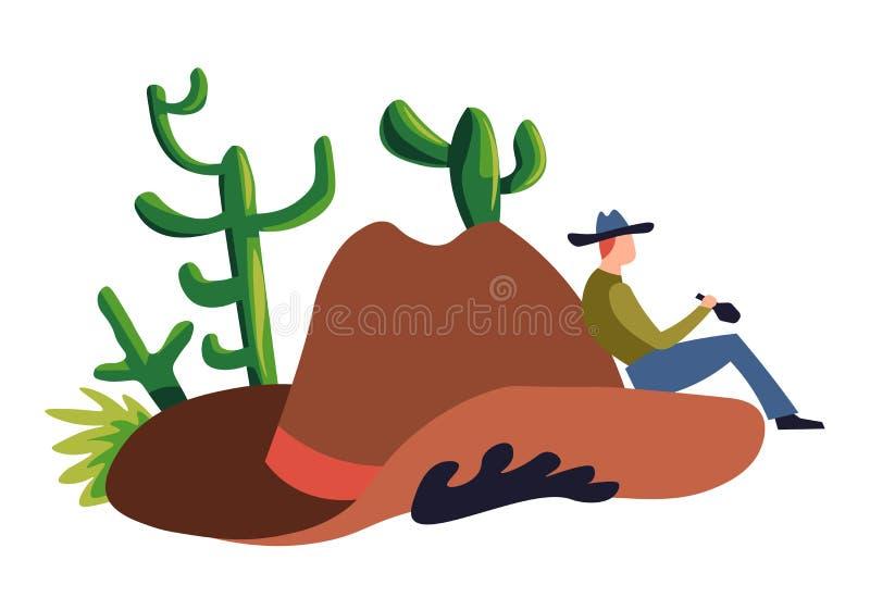 Chapeau de cowboy et icône d'isolement de cactus occidental sauvage ou occidental illustration libre de droits