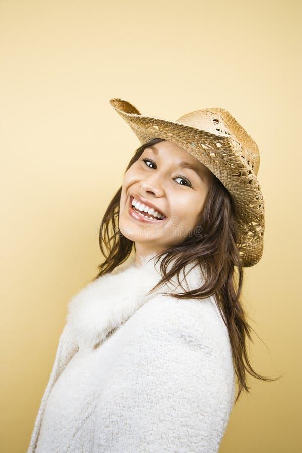 Chapeau de cowboy s'usant de femme. images stock