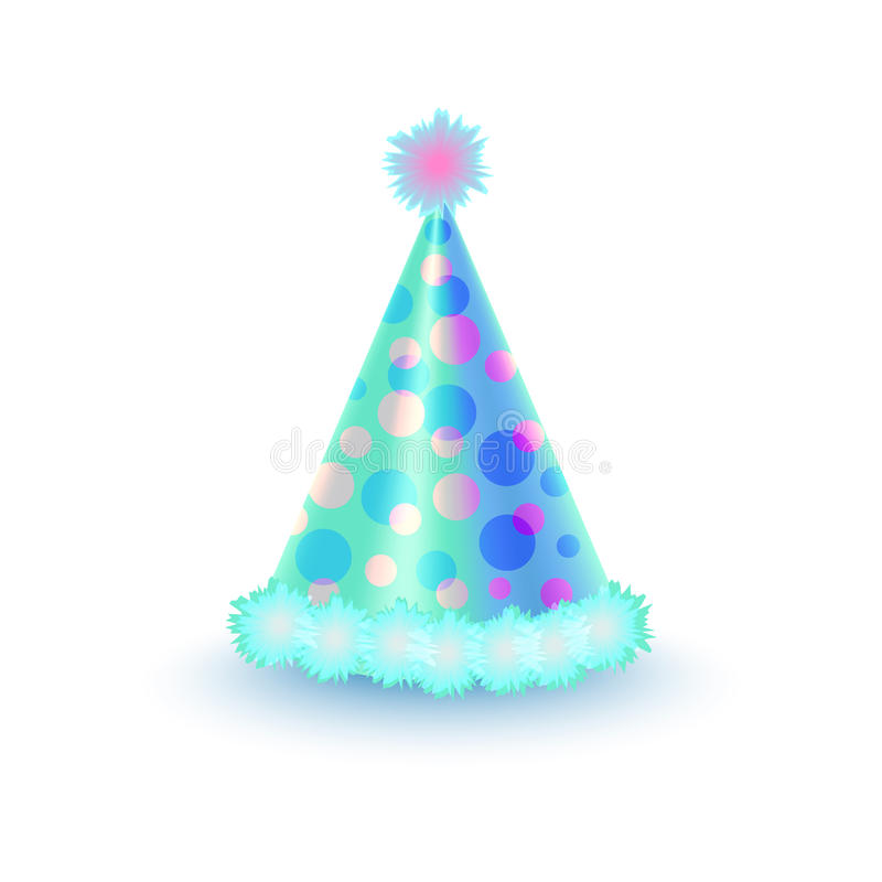 Chapeau de fête lumineux avec les cercles pourpres et bleus illustration de vecteur