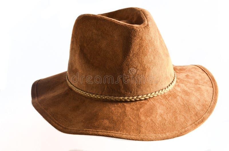 Chapeau de feutre femelle à la mode d'isolement sur le fond blanc Chapeaux de ressort d'automne image libre de droits