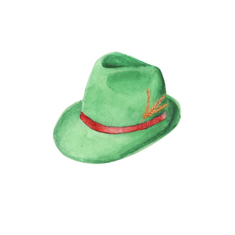 Chapeau de feutre vert bavarois d'aquarelle peinte à la main Chapeau traditionnel tyrolien illustration stock