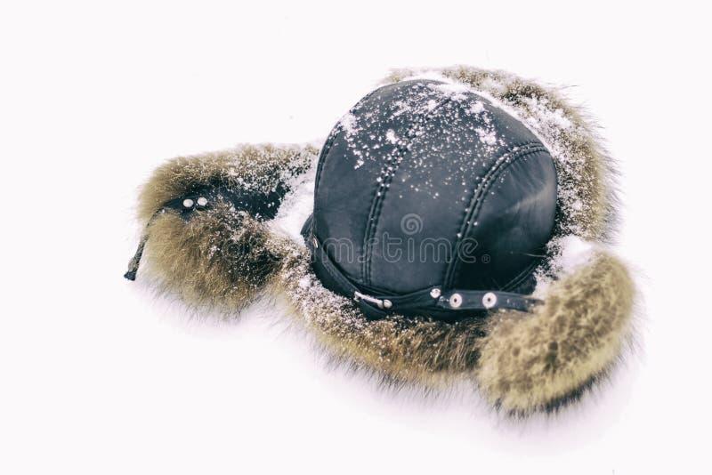 Chapeau de fourrure pour l'hiver couvert dans la neige La première neige est tombée ayez la tonalité snowing photo stock