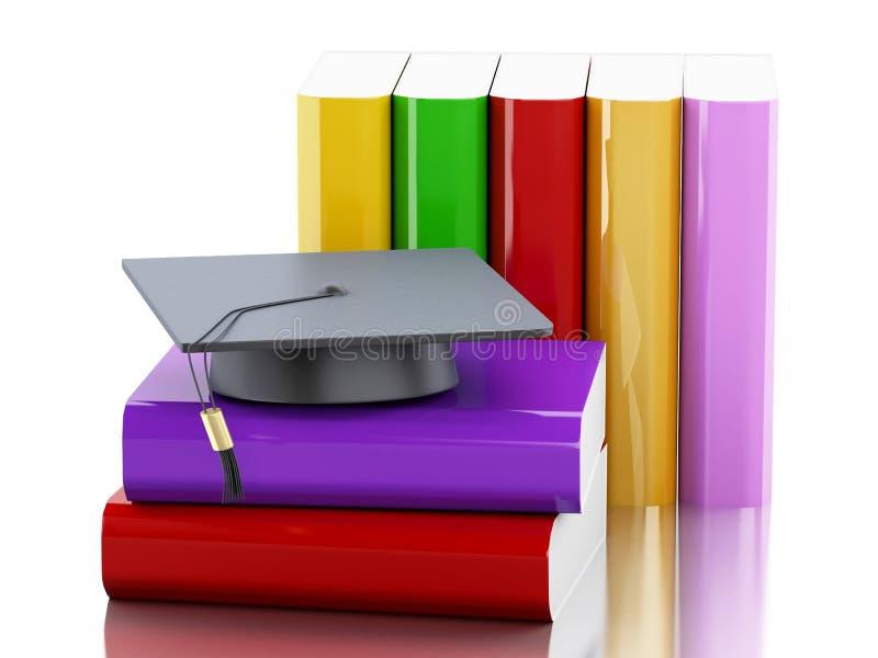 chapeau de l'obtention du diplôme 3d et pile de livres illustration libre de droits