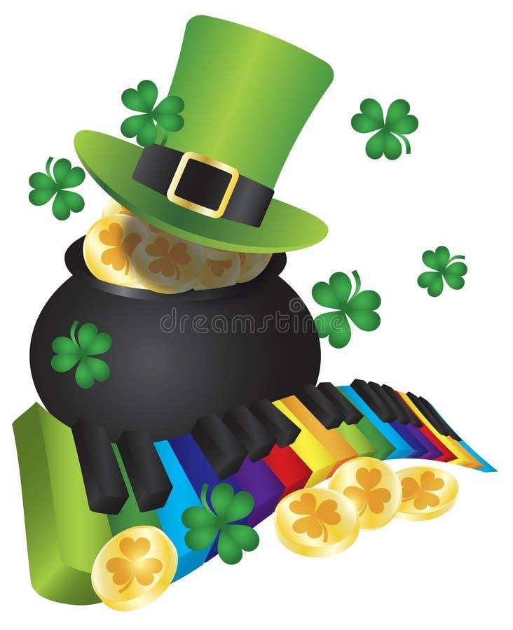 Chapeau de lutin avec des clés de piano et pot d'or illustration stock