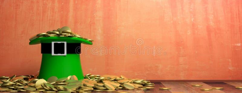 Chapeau de lutin de jour de St Patricks et pièces de monnaie d'or sur le fond peint de mur, bannière, l'espace de copie illustrat illustration stock