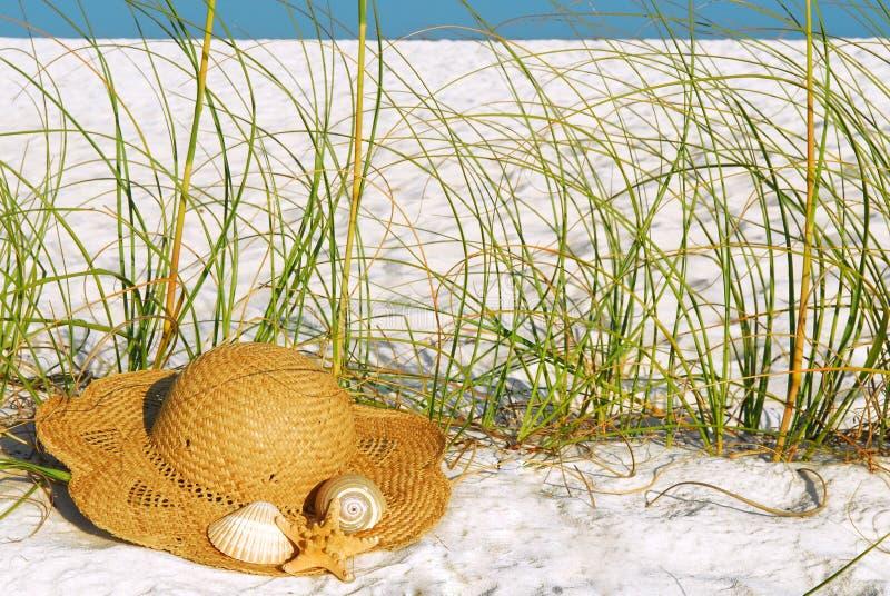Chapeau de paille à la plage image libre de droits