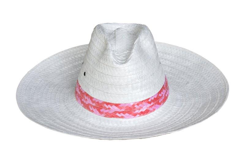 Chapeau de paille blanc d'isolement sur le fond blanc image libre de droits