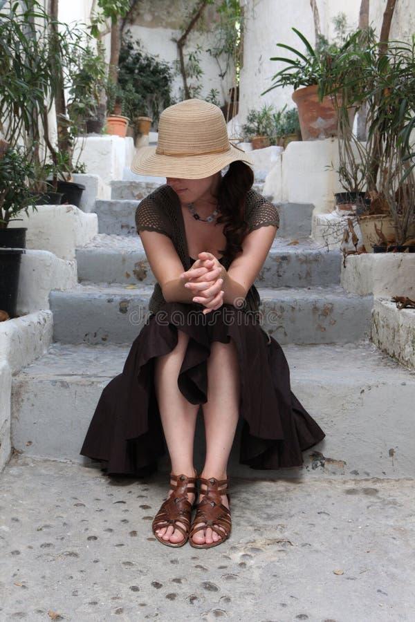 Chapeau de paille de femme photos stock
