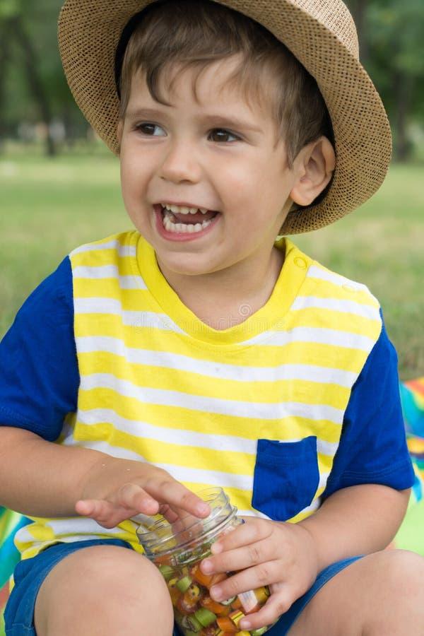 Chapeau de paille de port de petit garçon mangeant la sucrerie sur le pique-nique d'été image stock