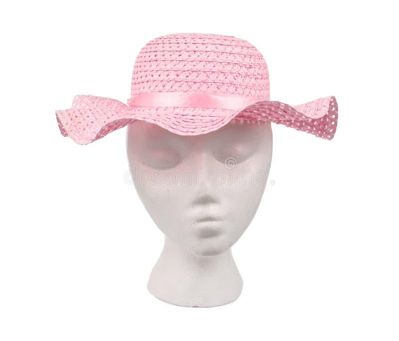 Chapeau de paille tissé par rose images stock