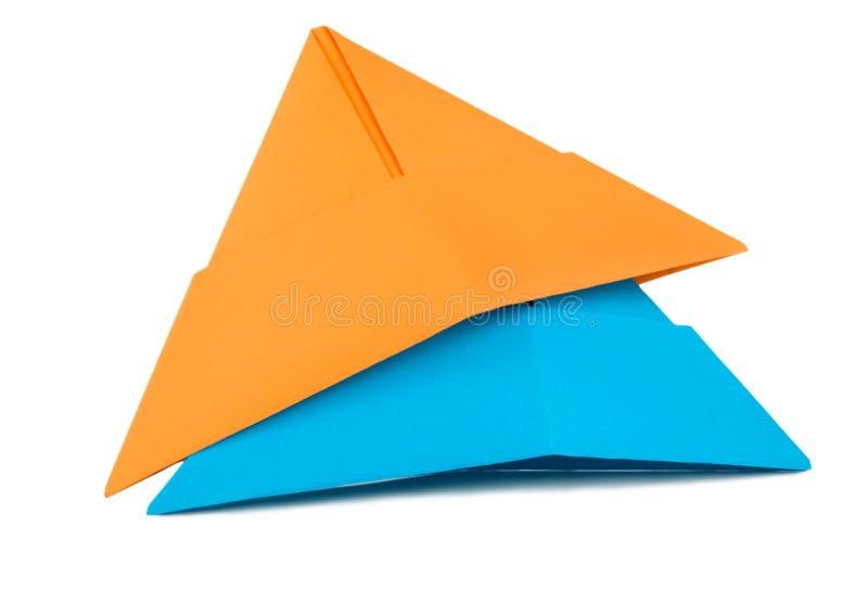 Chapeau de papier orange et bleu photo stock