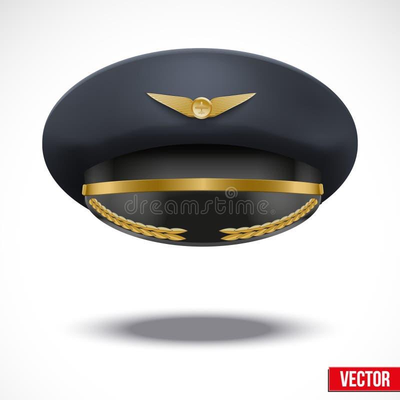 Chapeau de Peaked d'aviateur du pilote. Vecteur. illustration libre de droits