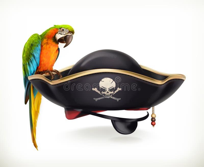 Chapeau de pirate, icône de vecteur illustration stock